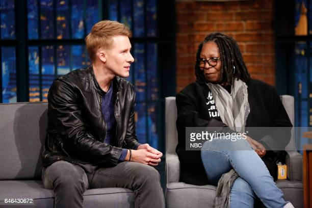 Actors Dustin Lance Black Whoopi Goldberg during an interview on February 28 2017