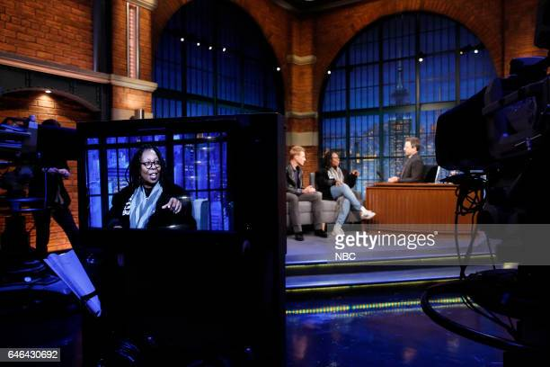 Actors Dustin Lance Black Whoopi Goldberg during an interview with host Seth Meyers on February 28 2017