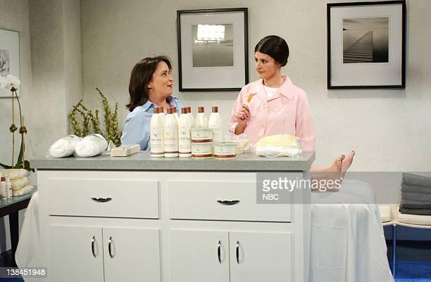 LIVE Episode 5 Aired Pictured Rachel Dratch as customer Nia Vardalos as Sonya during 'Bikini Wax' skit on November 9 2002