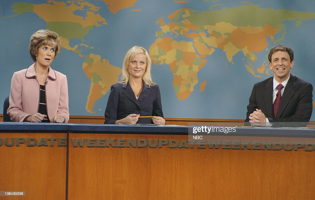 LIVE Episode 5 Aired Pictured Kristen Wiig as Aunt Linda Amy Poehler Seth Meyersduring 'Weekend Update'