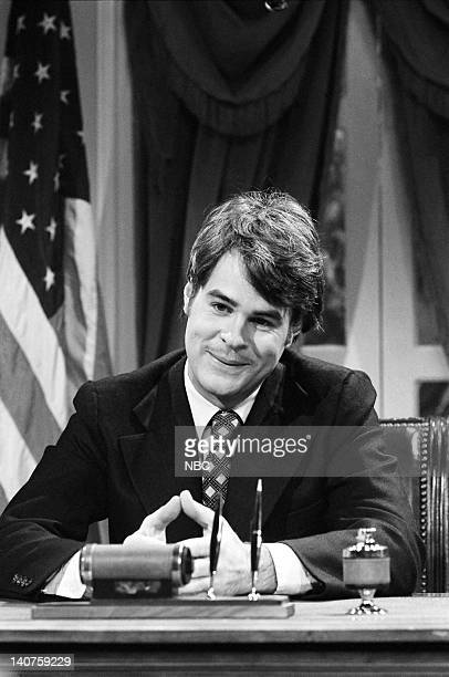 Dan Aykroyd as President Jimmy Carter during the 'Carter's Energy Program' skit on November 12 1977 Photo by NBC/NBCU Photo Bank