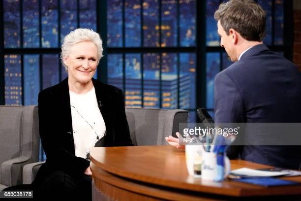 Actress Glenn Close during an interview with host Seth Meyers on March 13 2017