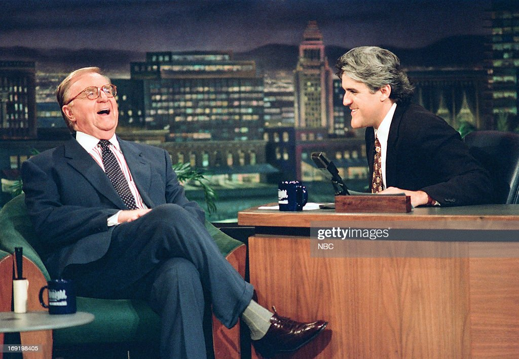 TV personality John McLaughlin during an interview with host Jay Leno on July 19, 1994--