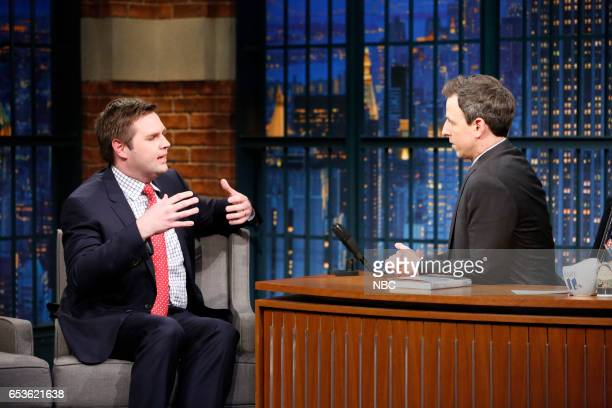 Author JD Vance during an interview with host Seth Meyers on March 15 2017