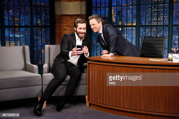 Actor Jake Gyllenhaal and host Seth Meyers try FaceTiming with actor Ryan Reynolds on March 23 2017