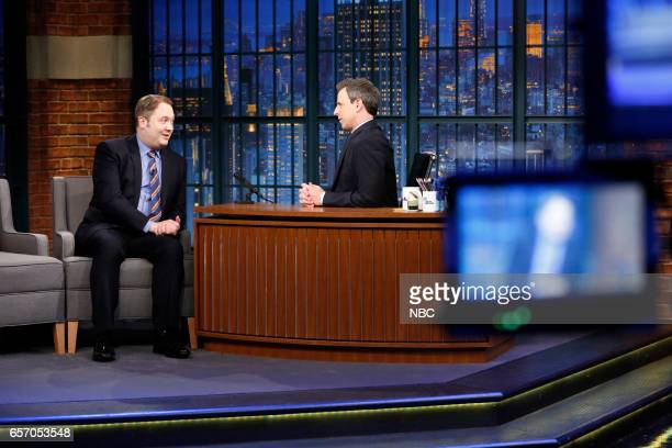 Writer John Lutz and host Seth Meyers during the 'Breitbart' sketch on March 23 2017