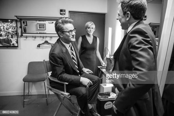 MEYERS Episode 509 Pictured Joe Scarborough Mika Brzezinski talk to host Seth Meyers backstage on March 28 2017