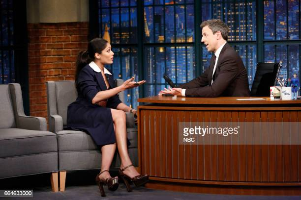 Actress Freida Pinto during an interview with host Seth Meyers on April 4 2017