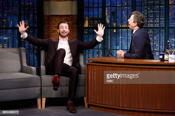 Actor Chris Evans during an interview with host Seth Meyers on April 5 2017