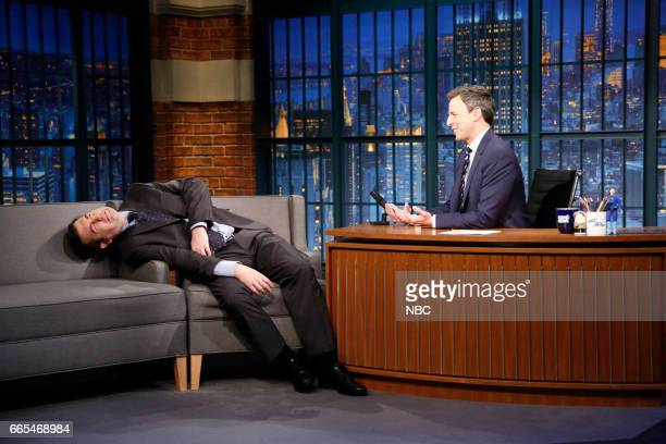 Mike Scollins as 'Devin Nunes' and host Seth Meyers during as sketch on April 5 2017