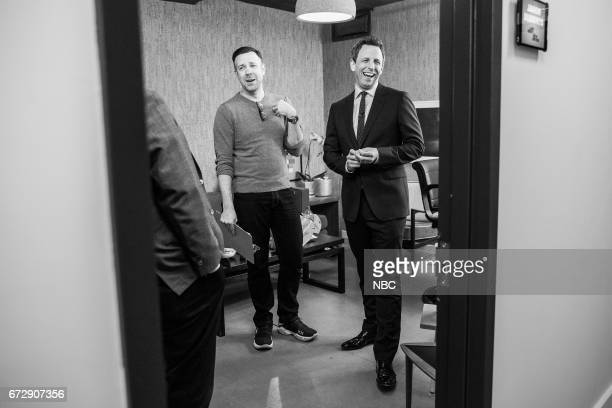 MEYERS Episode 516 Pictured Actor Jason Sudeikis talks with host Seth Meyers backstage on April 24 2017