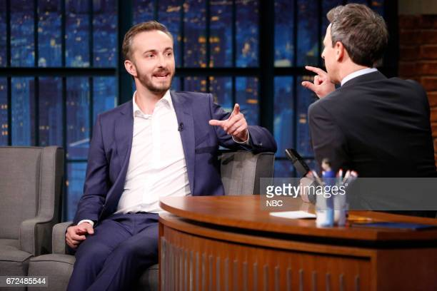 German talk show host Jan Böhmermann during an interview with host Seth Meyers on April 24 2017