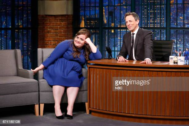 Comedian Aidy Bryant during an interview with host Seth Meyers on April 27 2017