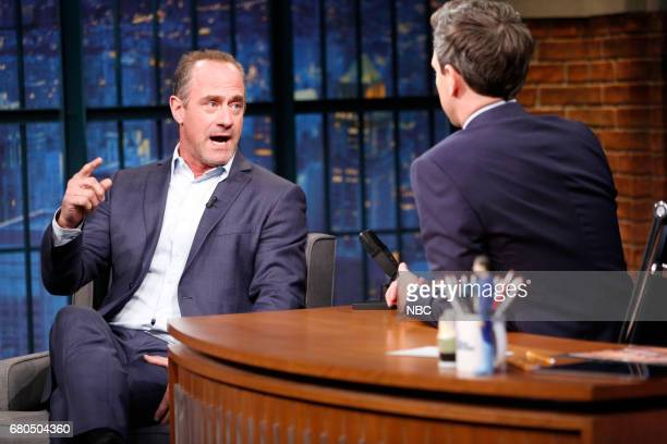 Actor Chris Meloni during an interview with host Seth Meyers on May 8 2017