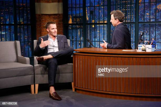 Actor Chris Pine talks with host Seth Meyers during an interview on May 23 2017