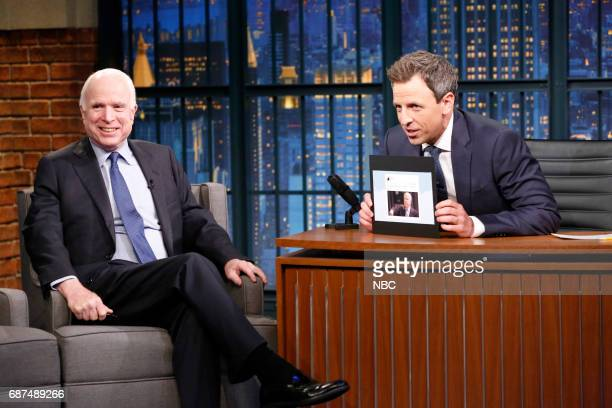 Senator John McCain talks with host Seth Meyers during an interview on May 23 2017
