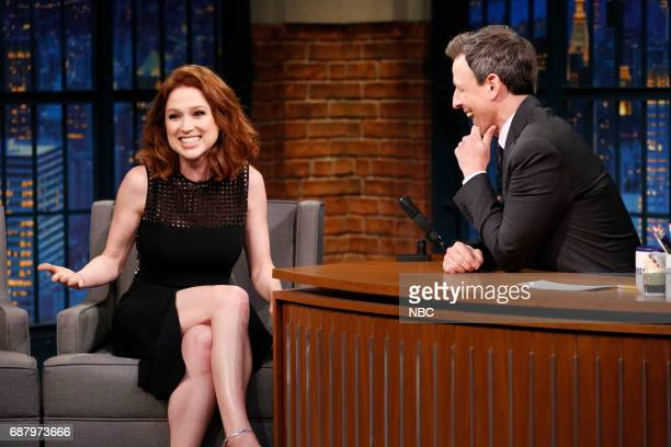 Actress Ellie Kemper talks with host Seth Meyers during an interview on May 24 2017
