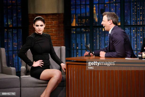 Actress Alexandra Daddario talks with host Seth Meyers during an interview on May 25 2017