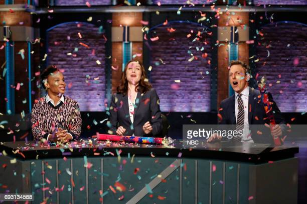 Amber Ruffin Ally Hord and host Seth Meyers during 'Point Counter Point' sketch on June 6 2017