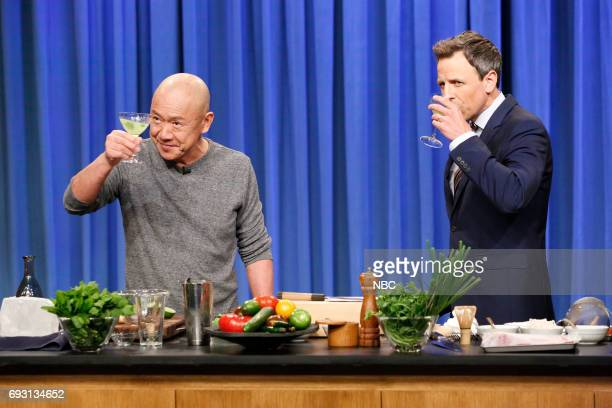 Chef Masa Takayama and host Seth Meyers during a cooking segment on June 6 2017