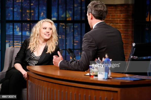 Comedian/actress Kate McKinnon talks with host Seth Meyers during an interview on June 13 2017