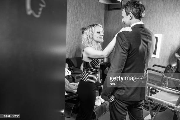 MEYERS Episode 541 Pictured Comedian/actress Kate McKinnon talks with host Seth Meyers on June 13 2017