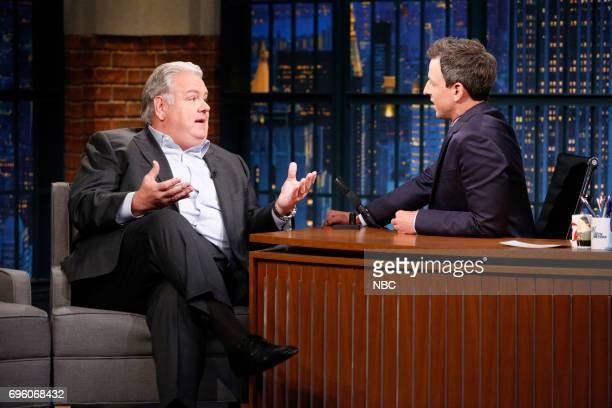 Actor Jim O'Heir talks with host Seth Meyers during an interview on June 14 2017
