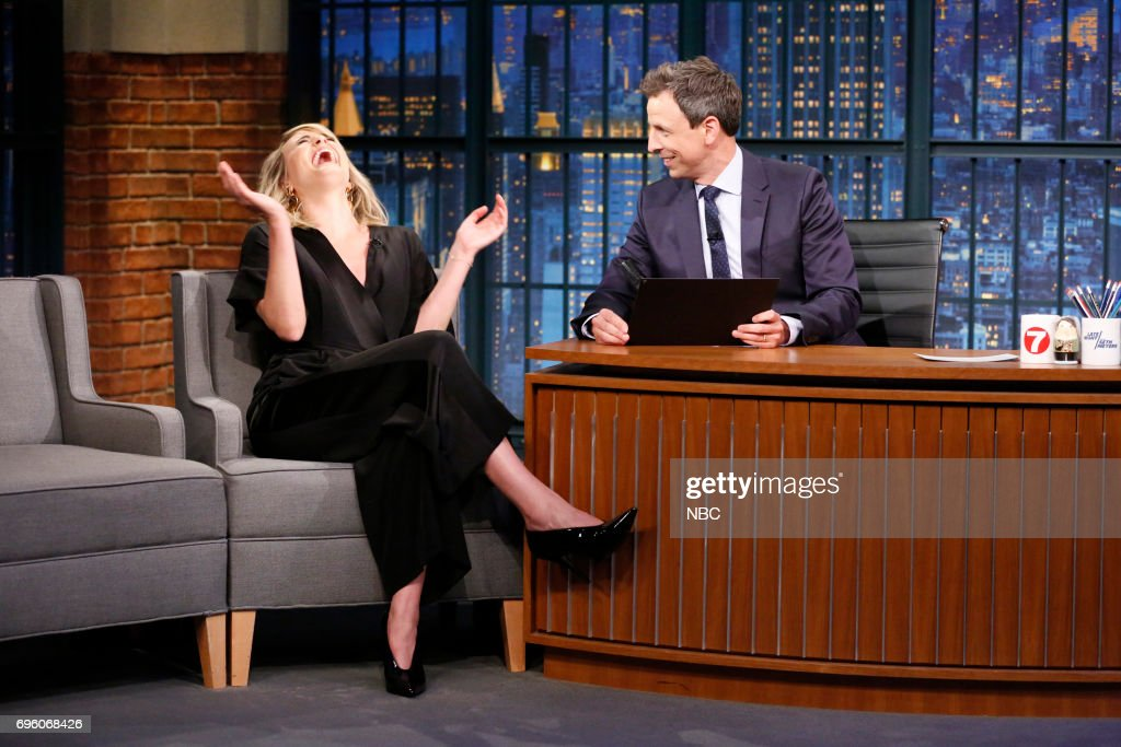Actress Taylor Schilling talks with host Seth Meyers during an interview on June 14, 2017 --