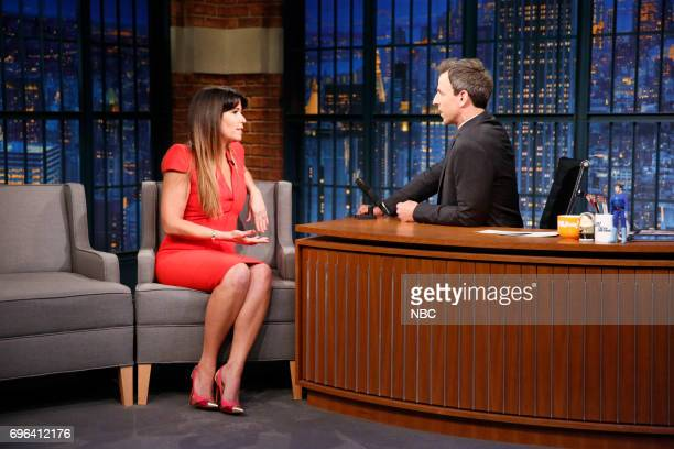 Director Patty Jenkins talks with host Seth Meyers during an interview on June 15 2017
