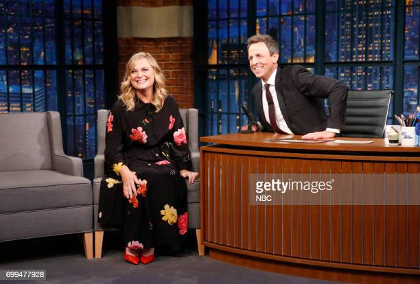 Actresscomedian Amy Poehler during an interview with host Seth Meyers on June 21 2017