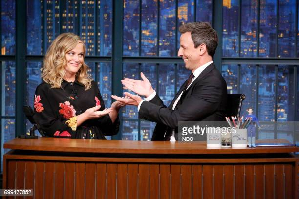 Actresscomedian Amy Poehler with host Seth Meyers during a segment on June 21 2017