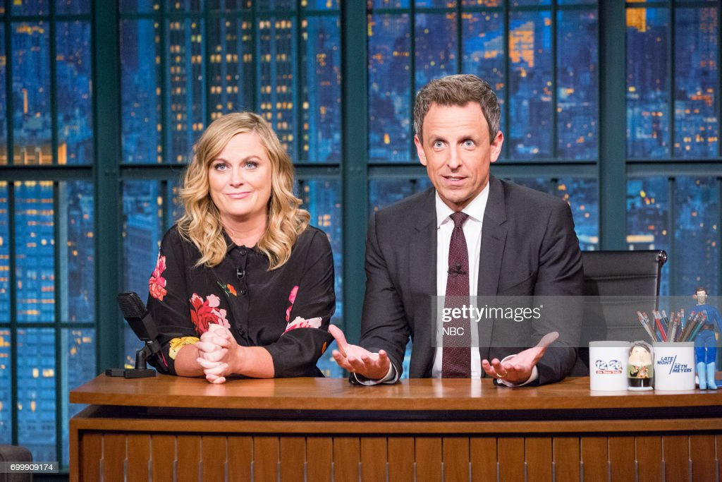 Actress/comedian Amy Poehler with host Seth Meyers during a segment on June 21, 2017 --