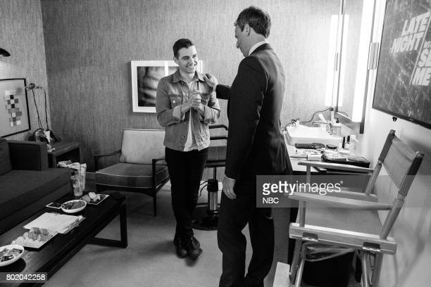 MEYERS Episode 548 Pictured Actor Dave Franco talks with host Seth Meyers backstage on June 26 2017