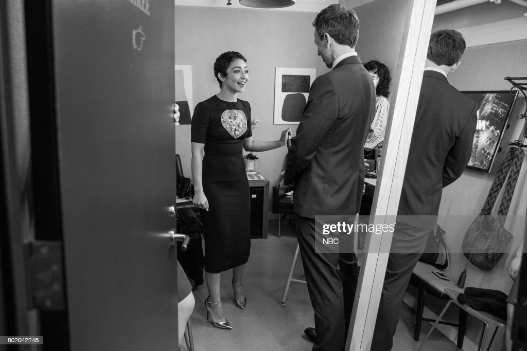 MEYERS -- (EXCLUSIVE COVERAGE) -- Episode 548 -- Pictured: Actress Ruth Negga talks with host Seth Meyers during the on June 26, 2017 --