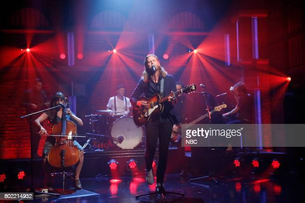 Musical guests Neyla Pekarek Jeremiah Fraites Wesley Schultz Byron Isaacs of The Lumineers perform on June 27 2017