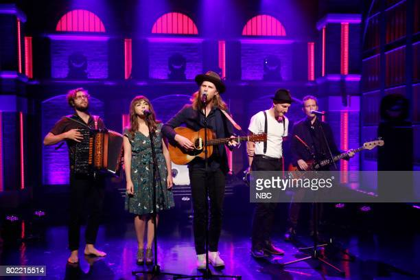 Musical guests Stelth Ulvang Neyla Pekarek Wesley Schultz Jeremiah Fraites Byron Isaacs of The Lumineers perform on June 27 2017