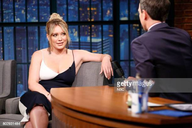 Actress/singer Hilary Duff during an interview with host Seth Meyers on June 28 2017