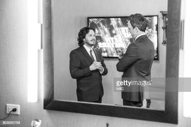 MEYERS Episode 550 Pictured Director Edgar Wright talks with host Seth Meyers backstage on June 28 2017