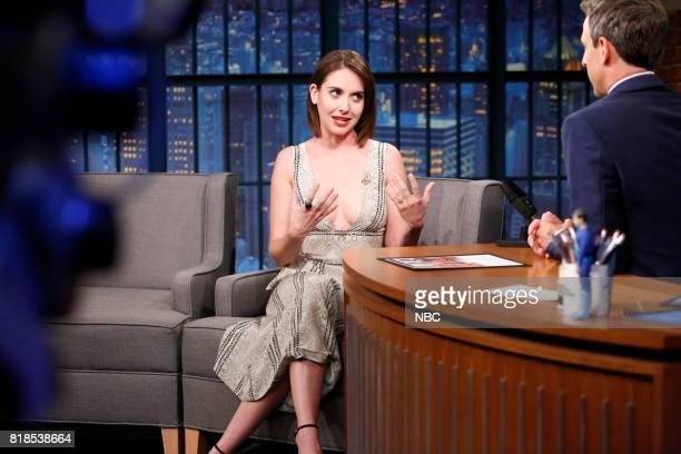 Actress Alison Brie talks with host Seth Meyers during an interview on July 18 2017