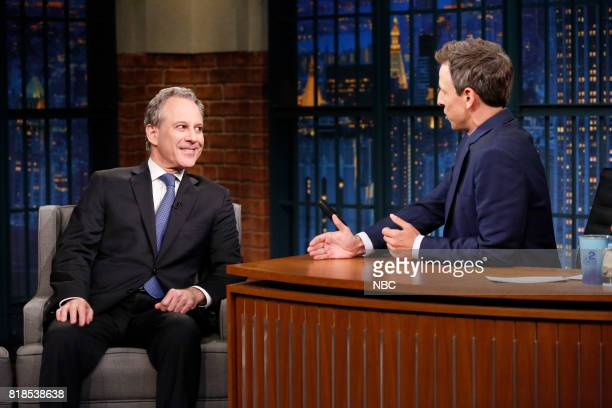 Attorney General Eric Schneiderman talks with host Seth Meyers during an interview on July 18 2017