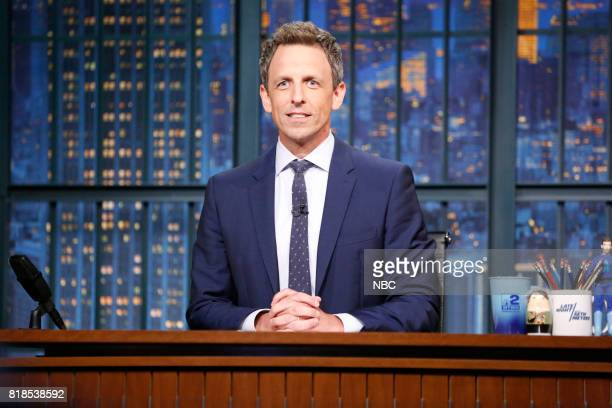 Host Seth Meyers at his desk during the monologue on July 18 2017