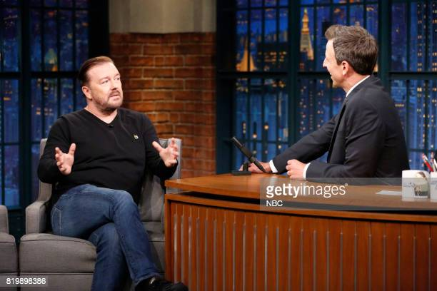 Actor/comedian Ricky Gervais talks with host Seth Meyers during an interview on July 19 2017