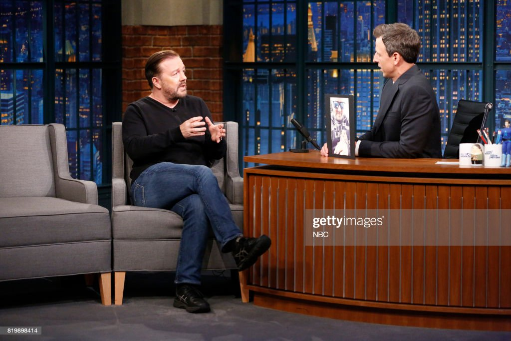 Actor/comedian Ricky Gervais talks with host Seth Meyers during an interview on July 19, 2017 --