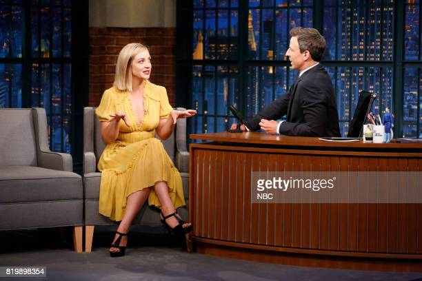 Actress Abby Elliott talks with host Seth Meyers during an interview on July 19 2017