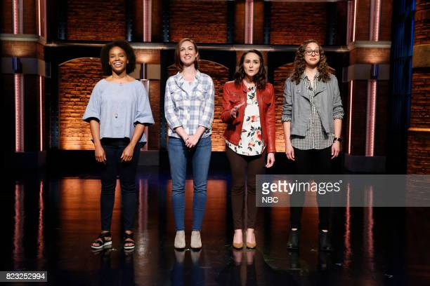 Amber Ruffin Ally Hord Dina Gusovsky Jenny Hagel during 'Trans Military Rant' sketch on July 26 2017
