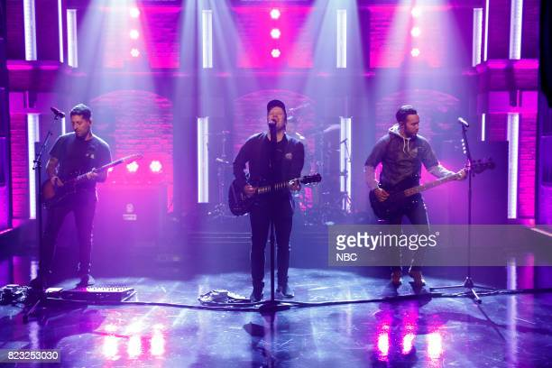 Joe Trohman Patrick Stump and Pete Wentz of musical guest Fall Out Boy perform on July 26 2017