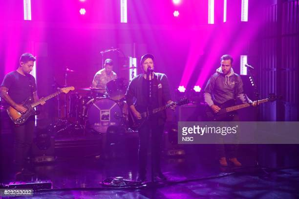 Joe Trohman Patrick Stump Andy Hurley and Pete Wentz of musical guest Fall Out Boy perform on July 26 2017