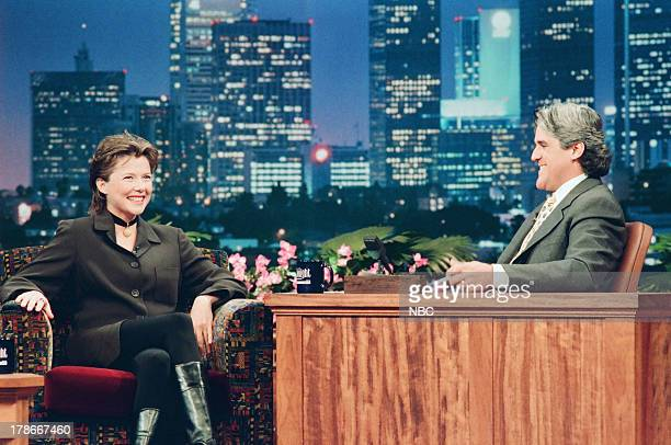 Actress Annette Bening during an interview with host Jay Leno on October 20 1994