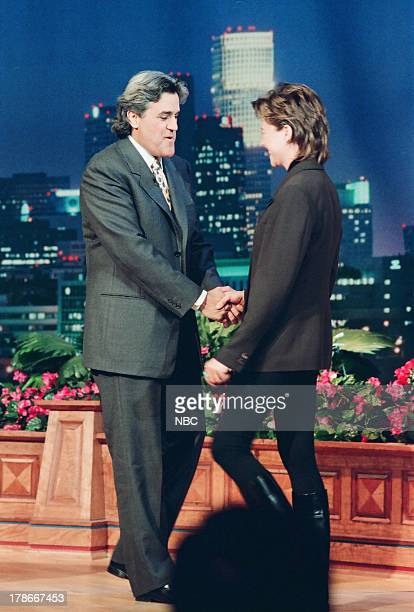 Host Jay Leno greets Actress Annette Bening on October 20 1994
