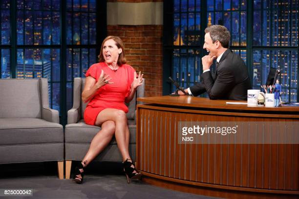 Actress Molly Shannon talks with host Seth Meyers during an interview on July 31 2017
